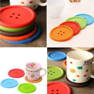 5 × Silicone Placemats Button Coasters Tea Cup Cushion Mug Bowl Holder Cup Mat
