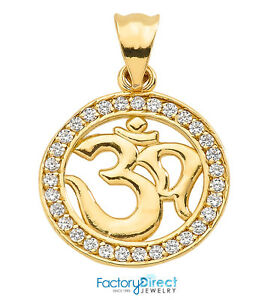 14k yellow gold diamonds studded omohm pendant ebay image is loading 14k yellow gold diamonds studded om ohm pendant aloadofball Gallery