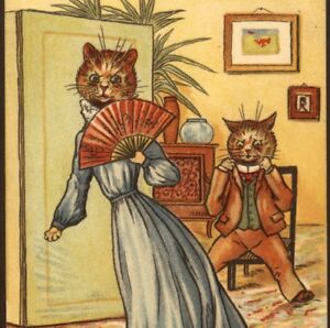 SCARCE-LOUIS-WAIN-CAT-ANGRY-WIFE-034-I-WILL-HAVE-A-NEW-HAT-034-VINTAGE-POSTCARD