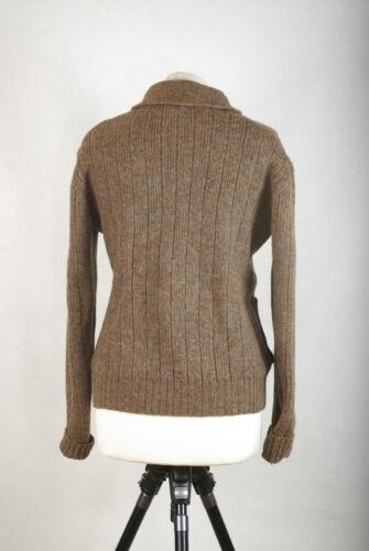 Cardigan en en avec maille 47 Cm poches laine Uk14 97 brune Vintage P586 1TxR4qt