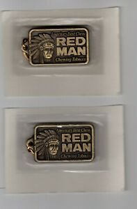 LOT-OF-2-1988-Red-Man-Chewing-Tobacco-Key-Chain-in-Original-Package