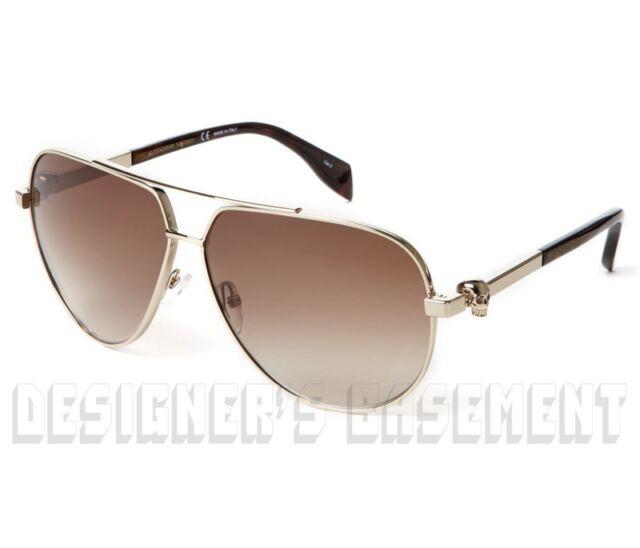 7c9b59f1df ALEXANDER MCQUEEN gold-tone AM0018SA metal SKULL Aviator Sunglasses NIB Ath   440