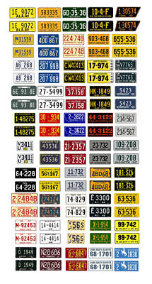 1//18 scale model car assorted USA 1980s license plates state tags 1:18