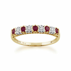 9-Ct-Oro-Amarillo-0-31-CT-Diamante-Natural-Ruby-amp-2-Pinta-Medio-Anillo-de-la-eternidad
