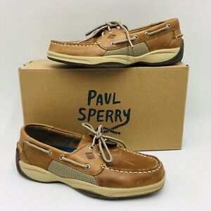 Sperry-Top-Sider-Men-039-s-Intrepid-Casual-Boat-Shoes-Tan-Leather