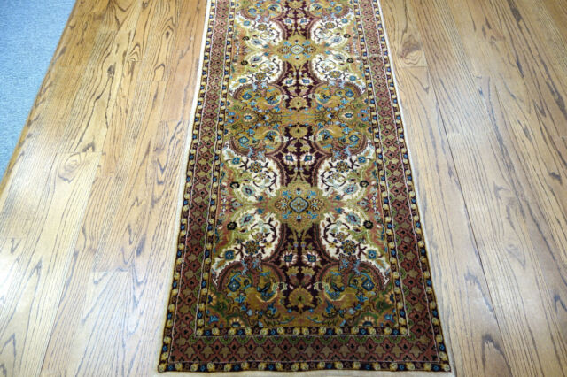 """2'10"""" x 21' Authentic Made in India Tabriz Design Fine Runner Wool Hand Knotted"""