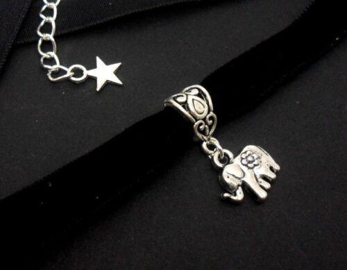 Nuevo. Damas Chicas 10mm Black Velvet Elefante Collar Gargantilla