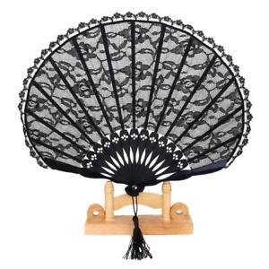 High-Quality-Lady-039-s-Retro-Lace-Trim-Bamboo-Handheld-Folding-Hand-Fan-Black