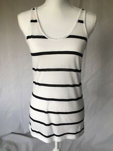 PINK-shirt-size-Large-tank-top-womens-black-white-striped-T-back