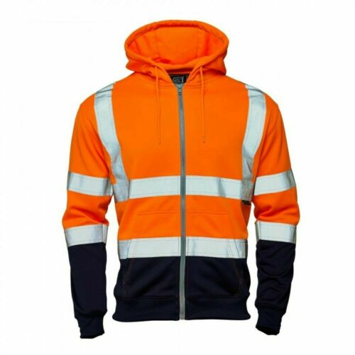 Supertouch Hi Vis Viz Two Tone Zip Hoodies Jogging Bottom Safety Work Wear Top