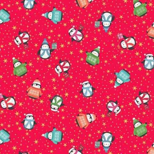 Cotton Fabric  Fat Quarter Makower Let It Snow Penguins Red