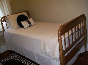 Antique Maple Jenny Lind Spindle Twin Bed And Serta