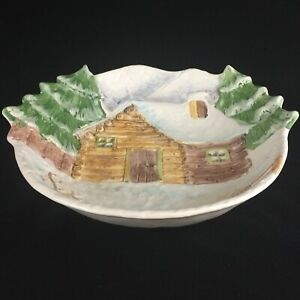 Large-VTG-Serving-Bowl-13-3-4-034-by-The-Cellar-Log-Cabin-Christmas-Made-in-Italy