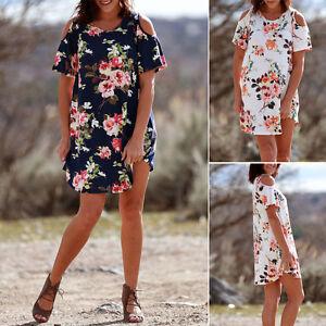 Women-039-s-Summer-Short-Sleeve-Floral-Short-Mini-Dress-Beach-Party-Cocktail-Evening
