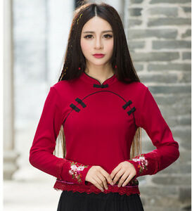 Chinese-Style-Women-039-s-Top-T-shirt-Embroidery-Long-Sleeve-Blouse-Cheongsam-QiPao