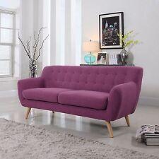 Mid Century Purple Sofa Tufted Buttons Modern Linen Fabric Furniture