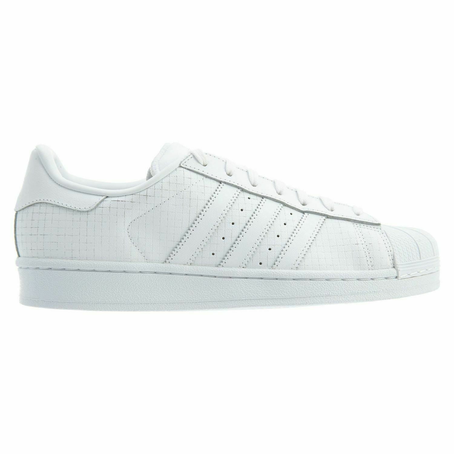 Adidas Superstar Mens AQ8334 White Grid Lines Leather Shell Toe shoes Size 7.5
