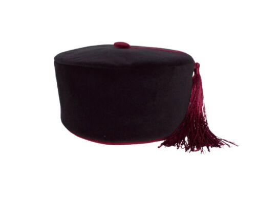 Velvet Smoking Cap Black and Maroon  Handmade to Order