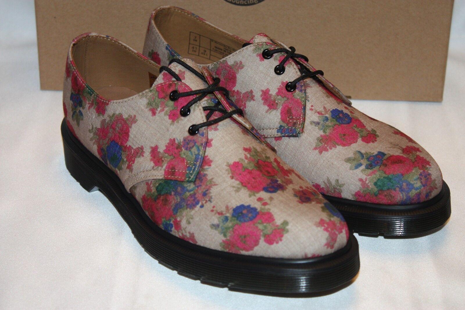 NEW! NIB! Dr. Doc Martens Taupe Floral Linen Canvas 1461 Oxford Shoes Sz 9