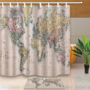 Old world map waterproof polyester shower curtain 12 plastic hooks image is loading old world map waterproof polyester shower curtain 12 gumiabroncs Images