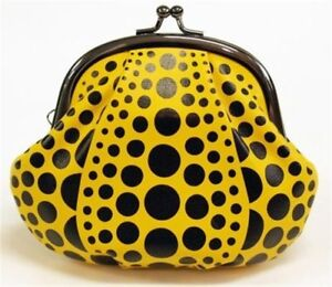 YAYOI-KUSAMA-039-Dots-Pumpkin-039-Leather-Coin-Purse-Yellow-5-5-x-4-75-x-1-5-in-NEW