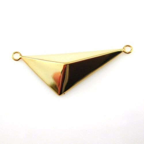 22K Gold plated over Sterling Silver Triangle Connector-Geometric Charm-35x12 mm