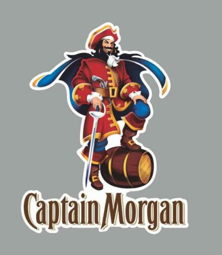 "Captain Morgan Decal Sticker Hard Hat Cell Phone Drink Toolbox Bar Food 2Pak 5/"""