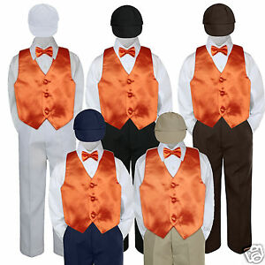 5pc Orange Vest Bowtie Halloween Party Suit Set Baby Boy Toddler Kid Uniform S-7