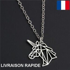 Collier-Pendentif-Licorne-Origami-Bijoux-Femme-Fille-Enfant-Cadeau-Anniversaire