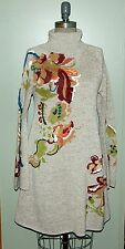 NWT Anthropologie Tan Embroidered Petals Swing Dress Knitted & Knotted M