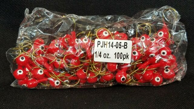 1/4OZ  RED 100 ROUND HEAD JIGS