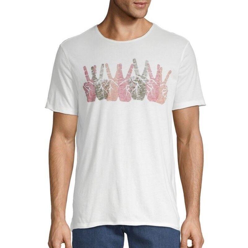 John Varvatos Star USA Men's Short Sleeve Peace Signs Row Crew Tee Shirt Salt