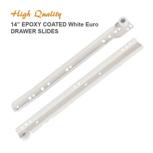 "Pack of 10 Pairs 10-22/"" Epoxy Coated White Euro Drawer Slides Kitchen Closet"
