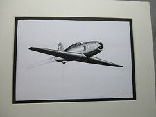 Italian Caproni Campini Jet  Aircraft artist pen ink  1964 New York Worlds Fair