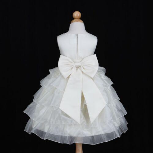 IVORY TIERED PRINCESS PAGEANT WEDDING FLOWER GIRL DRESS 12M 18M 24M 2 3//4 6 8 10