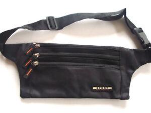 Travel-Money-Belt-Passport-Waist-Porch-Sport-Bum-Bag-compact-Black-New