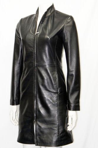 Natlie Black Ladies Women Fashion Designer Celebrity Knee Length Leather Jacket