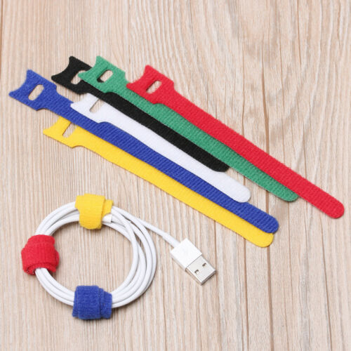 20pcs Reusable Colorful Nylon Strap Hook and Loop Cable Cord Ties Tidy Organiser