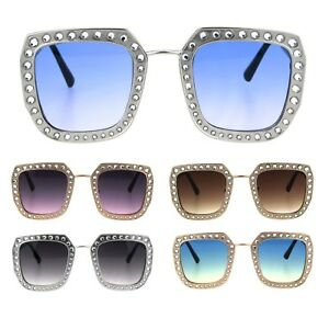 9e80f2d0990 Image is loading Rhinestone-Iced-Thick-Metal-Oceanic-Gradient-Lens-Designer-