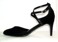 Womens Size 9 43 Black Suede High Heel Transvestite Strappy Sandals Shoes