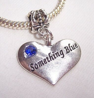 """Something Blue"" Bridal Bride Gift Heart Dangle Bead for European Charm Bracelet"