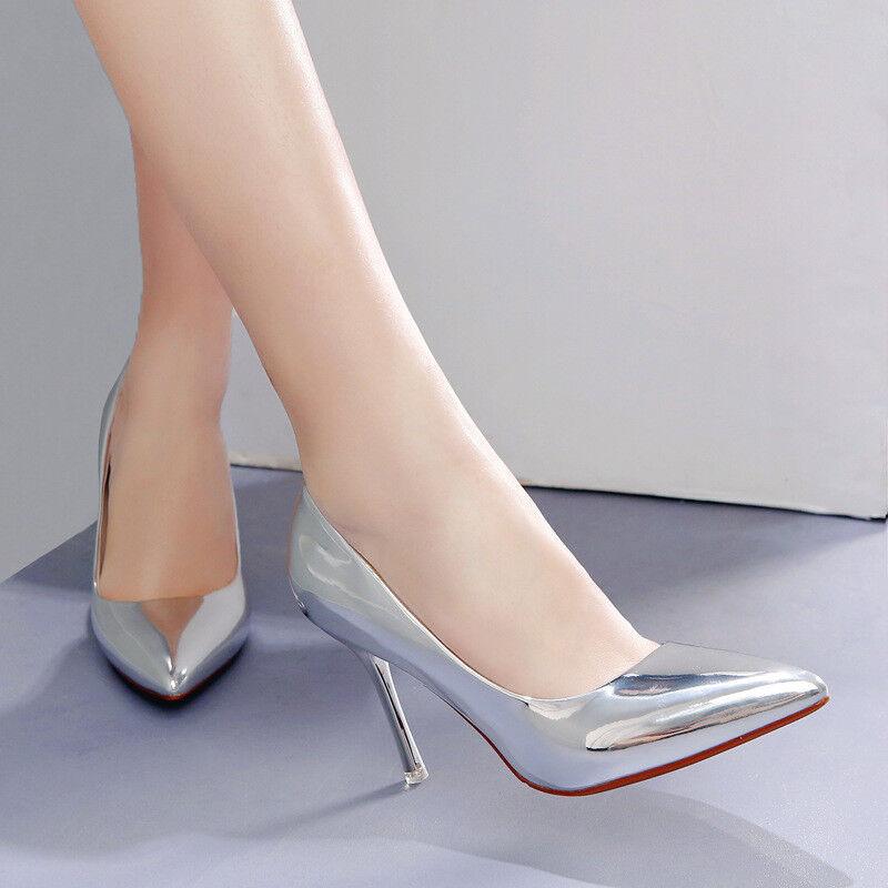 Scarpe decolte eleganti stiletto 10 10 10 argentoo lucido comodi simil pelle 1584 | A Primo Posto Tra Prodotti Simili  f6b478