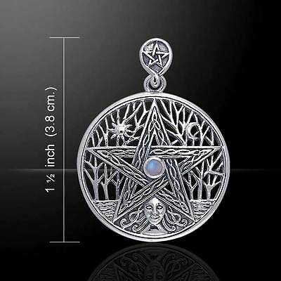 Pagan Wicca Pentacle Mixed Gem Sterling Silver Pendant by Peter Stone