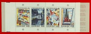 Sweden-1986-Sc-1543a-STOCKOLMIA-PAINTINGS-MNH-Stamp-Booklet-CV-6-75