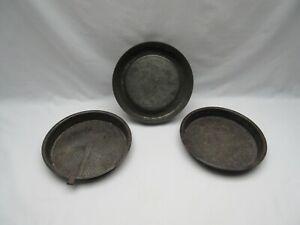 3 vintage rusty round cake pie flan baking tins Ovenex  Handiware display use