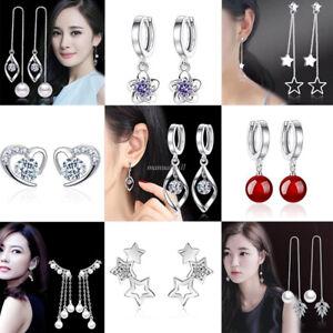 925-Sterling-Silver-Crystal-Stud-Dangle-Wedding-Jewelry-Women-Gift-Xmas-Earrings