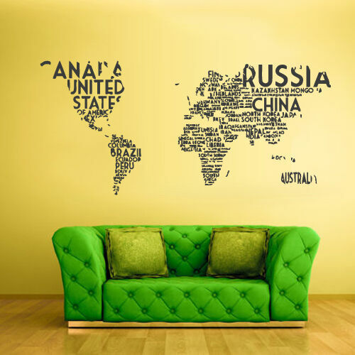 Wall Vinyl Sticker Bedroom Design World Map Country Words Quotes Z811