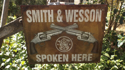 Smith /& Wesson Pistols Guns Ammunition Collectible Tin Advertising Mancave Sign