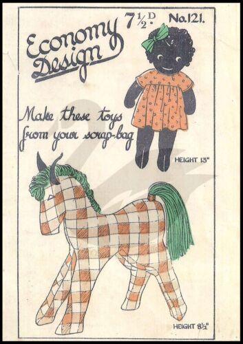 Vintage girl doll /& cheval économie design motif de couture ed121