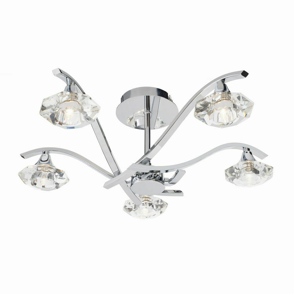 Elegant 5 Way Large Ceiling Light Fitting Chrome Effect & Crystal Glass Finish